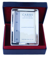 Carrs rectangular silver photo frame with bead edge