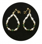 Freshwater Pearl & Green Malachite Earrings