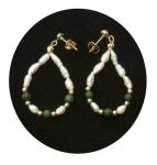 Freshwater Pearl & Green Malachite Earrings