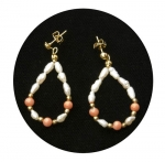 Freshwater Pearl & Coral Earrings
