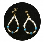 Freshwater Pearl & Turquoise Earrings