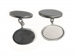 Oval Sterling Silver Cufflinks - with chains