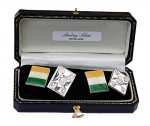 Sterling Silver Irish Flag Cufflinks