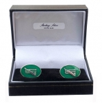 Sterling Silver & Enamel Cricket Cufflinks