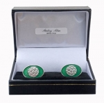 Sterling Silver & Enamel Football Cufflinks