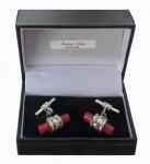 Sterling Silver Red Jasper barrel cufflinks