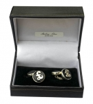 Sterling silver Pound Sign black onyx cufflinks