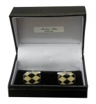 Sterling silver Black & White Chequered enamel cufflinks